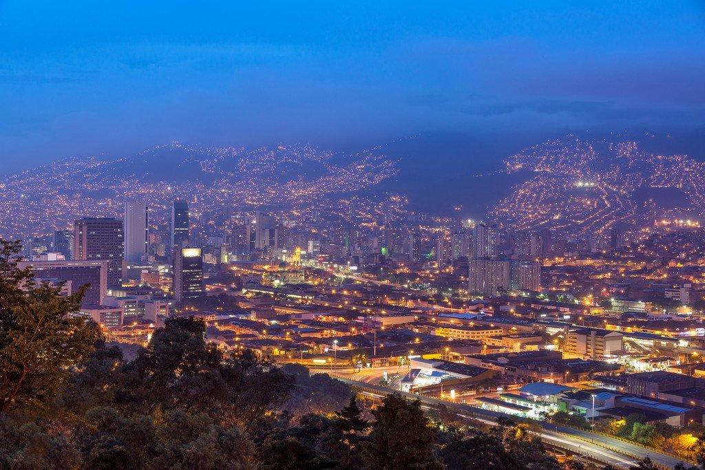 Cityscape of Medellín at dusk