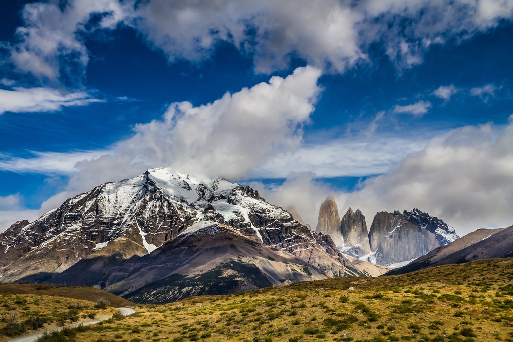 Mountains in Torres del Paine National Park. Summer in the south of Chile.
