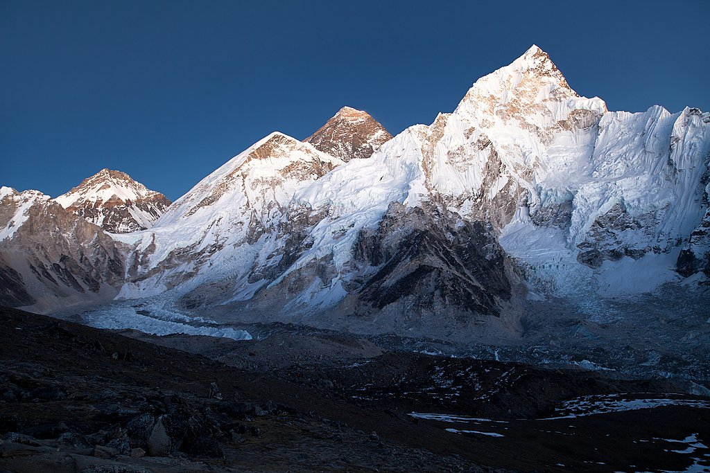 Dusk sets on Everest and Lhotse from Kala Patthar viewpoint