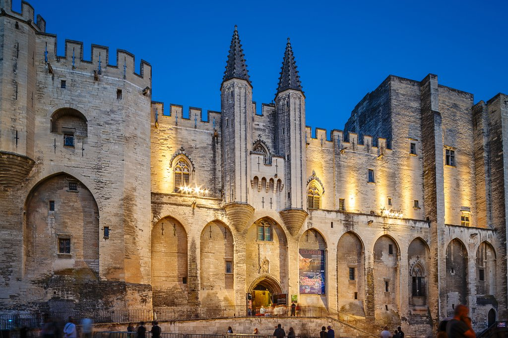 Avignon, France at night