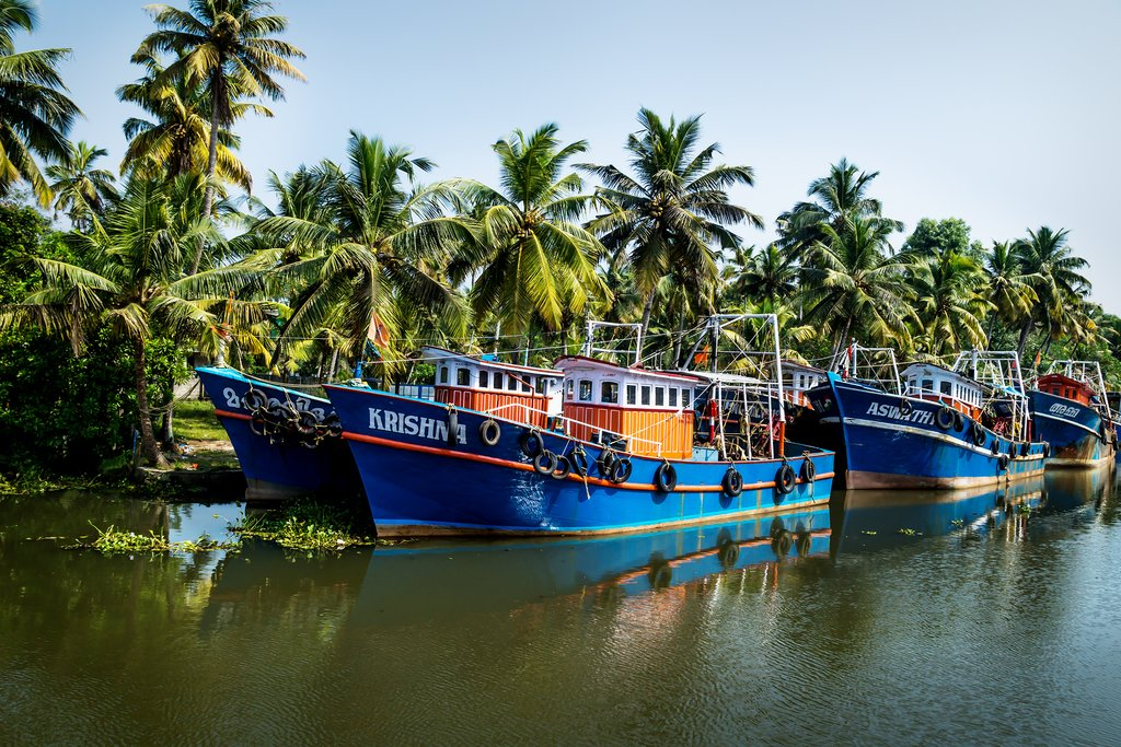 Row of ocean fishing boats in the canals of the Kerala backwaters