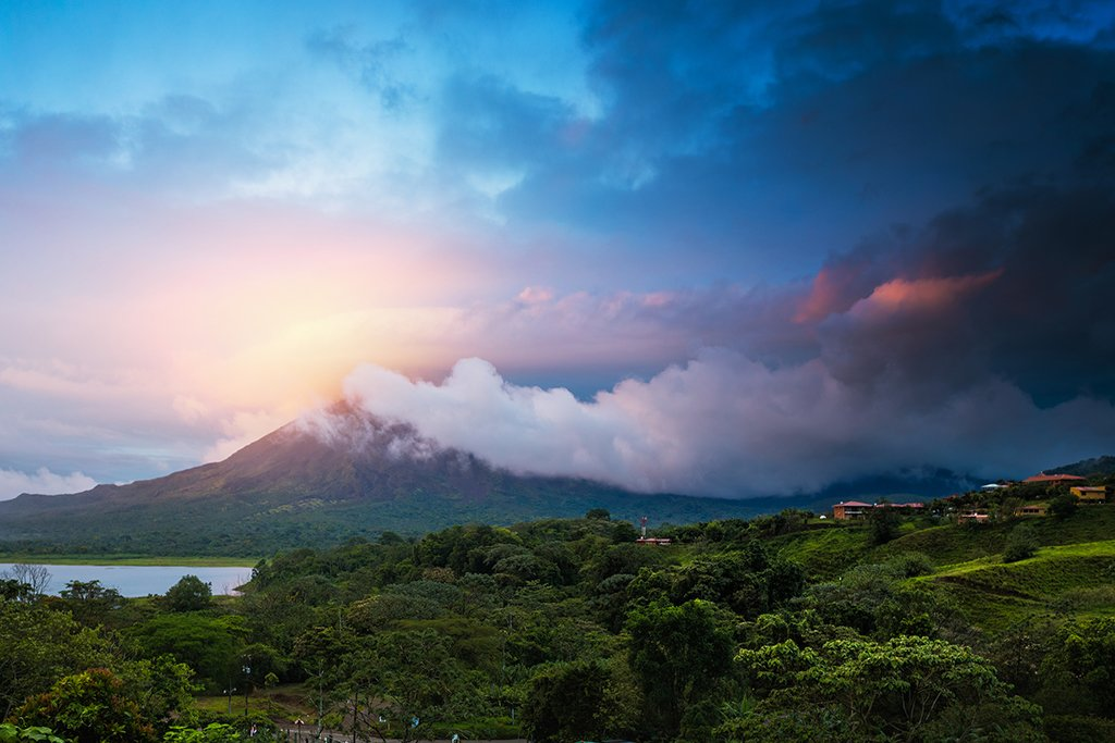 Storm clouds over Arenal volcano