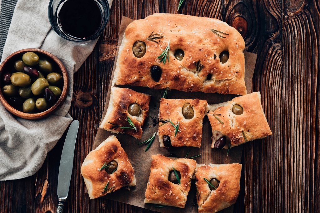 Homemade bread and olives