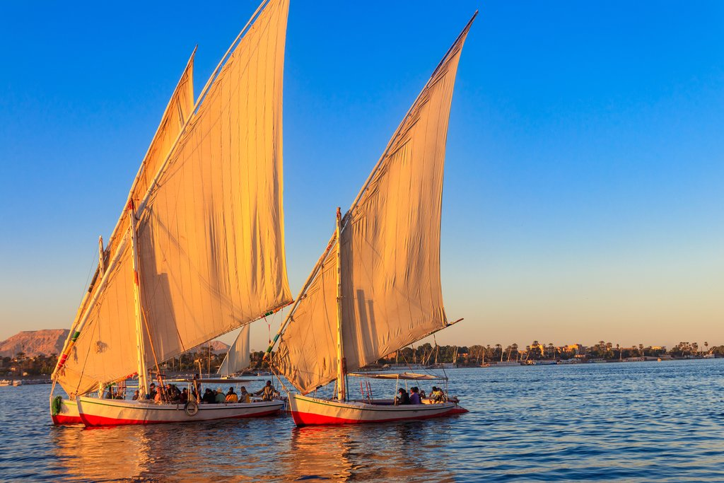 Felucca sailboats on the Nile