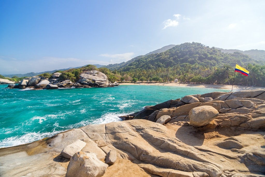 The ocean and rocks from Tayrona National Park