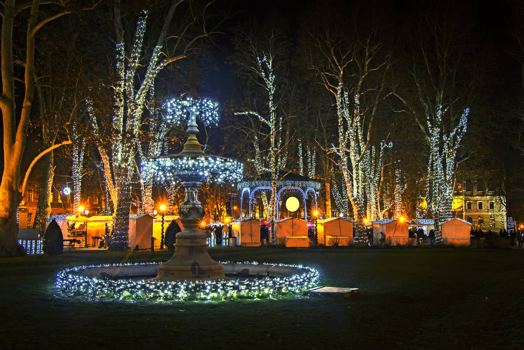 A park in Zagreb lit up during the Advent season