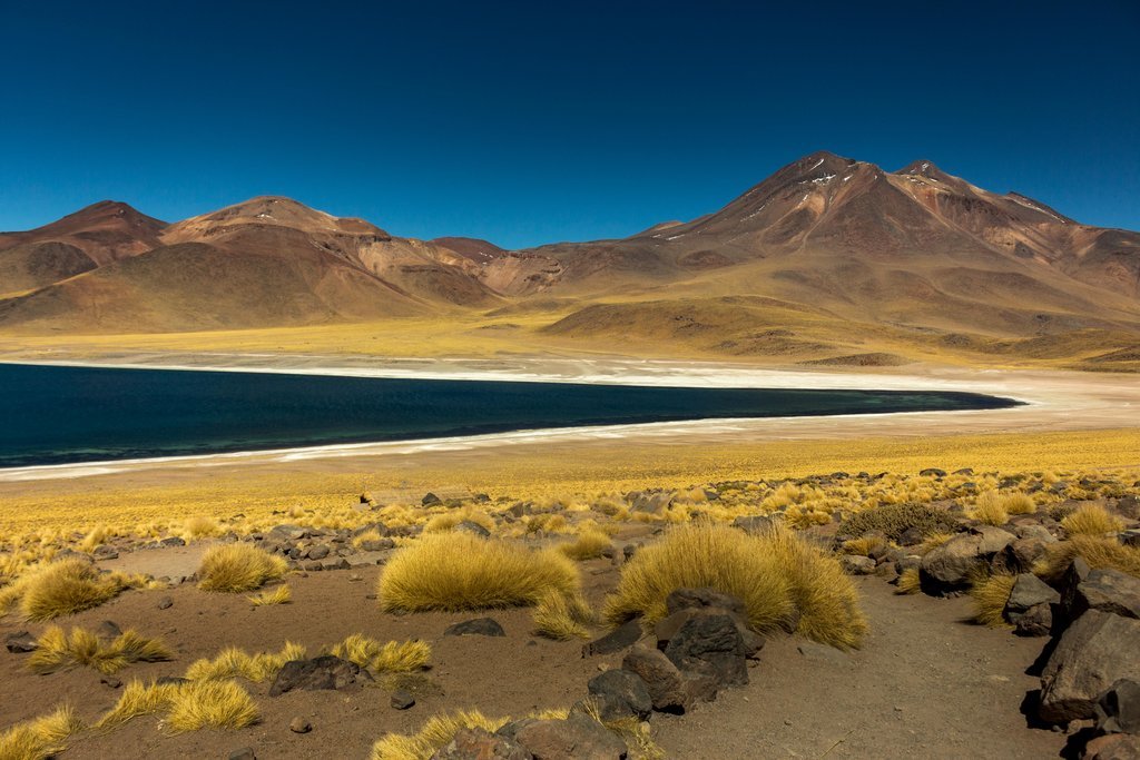 Cycle along vistas like this Andean lagoon