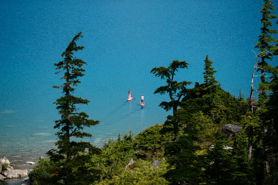 Paddleboarding off the coast of the Great Bear Rainforest