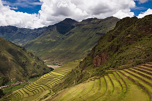 Inca terraces in the Sacred Valley - Pisac, Peru