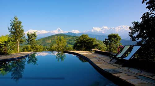 View from the terrace of Tiger Mountain Pokhara (photo courtesy Tiger Mountain)