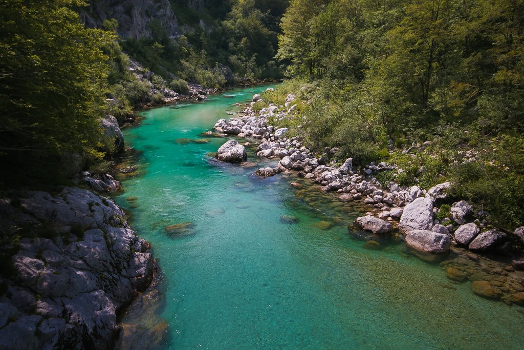 The Soča River in Kobarid, Slovenia