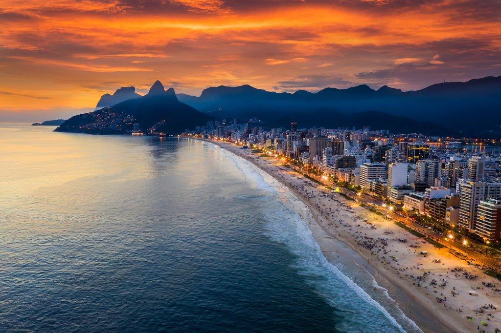 Sunset on Ipanema Beach in Rio de Janeiro