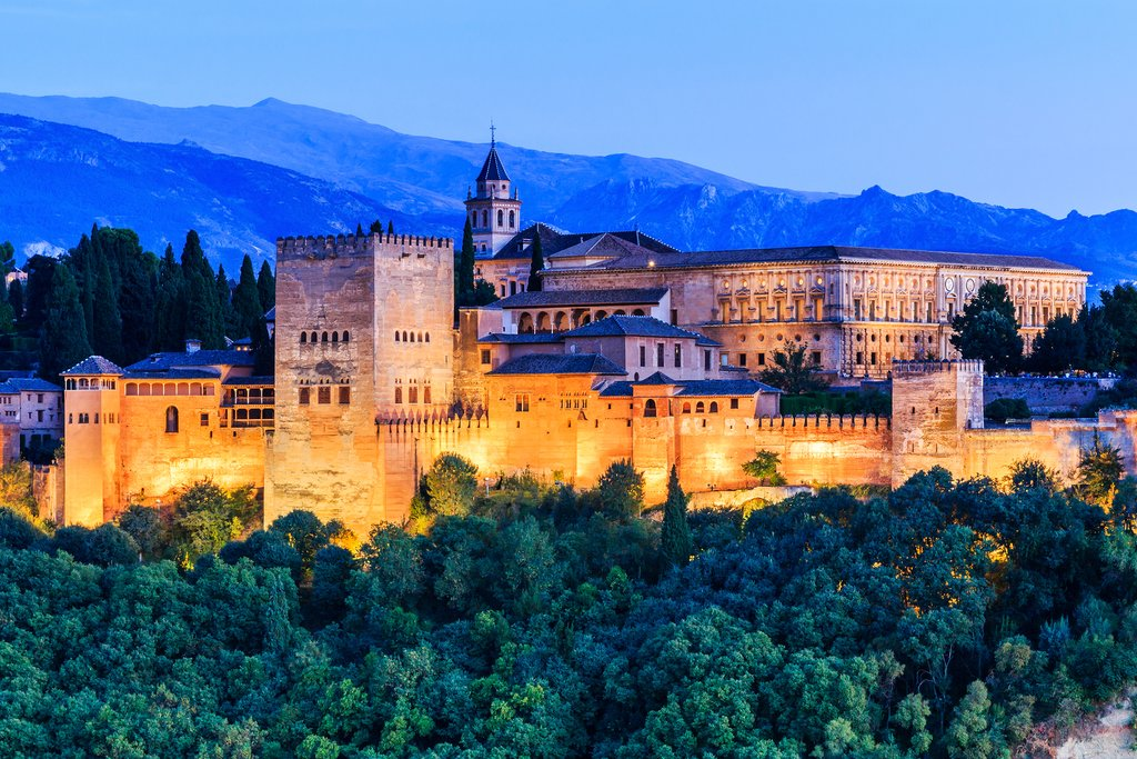 The Alhambra fortress at twilight