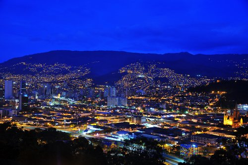 Aerial view of Medellín at dusk