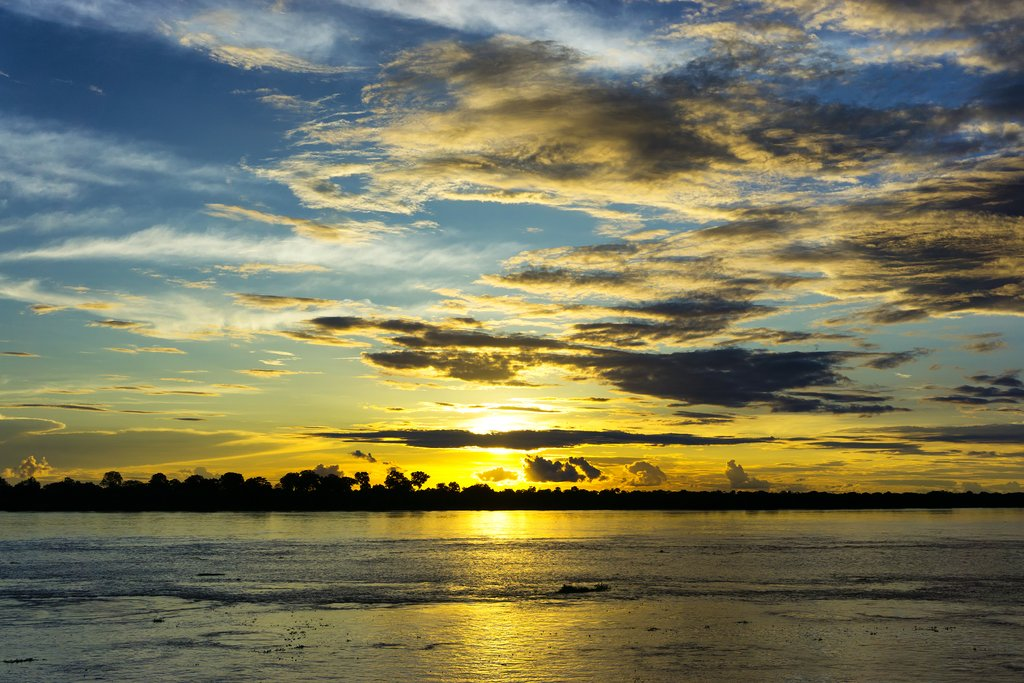 Sunset over the Amazon at Letitia.