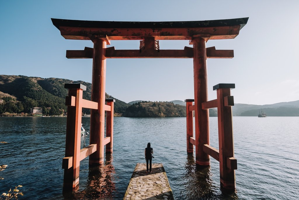 Torii gate at Lake Ashi, Hakone.