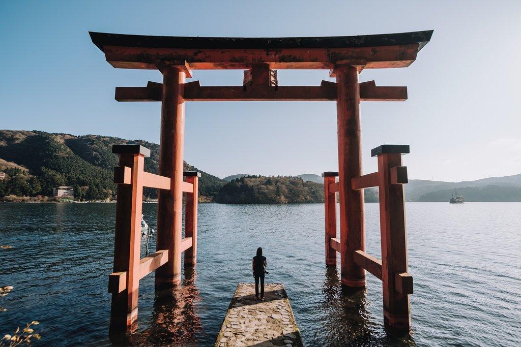 Torii gate at Lake Ashi, Hakone.