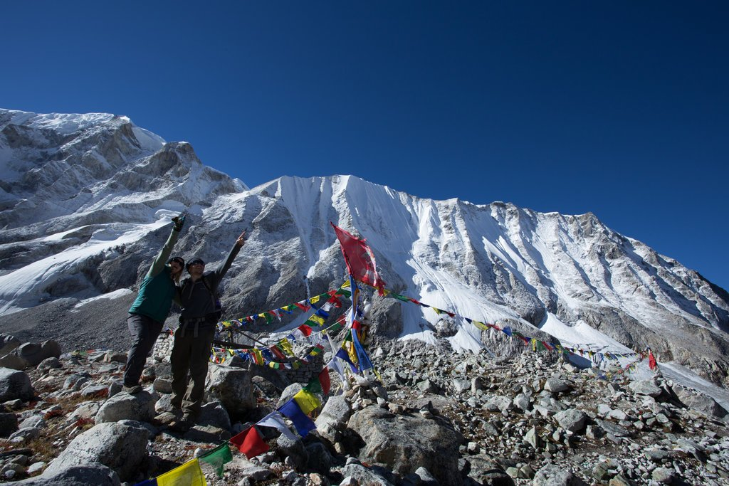 Trekkers on the Larkya Pass, September 2016
