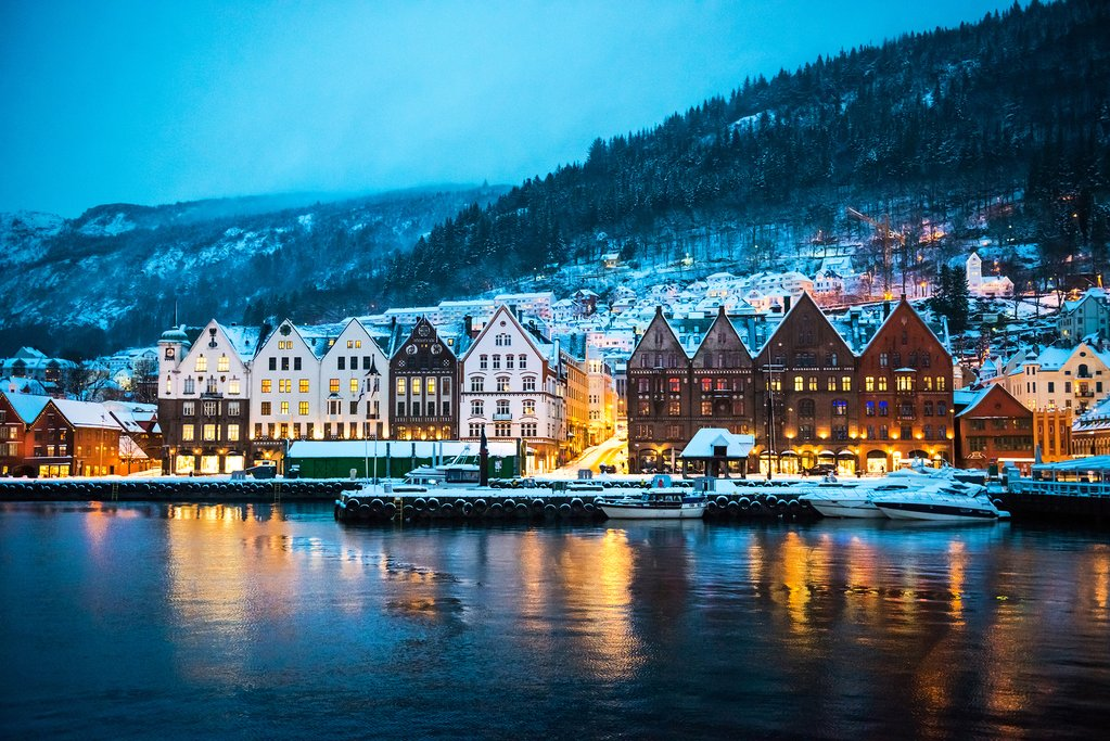 Bergen's waterfront UNESCO World Heritage Site after a snowfall