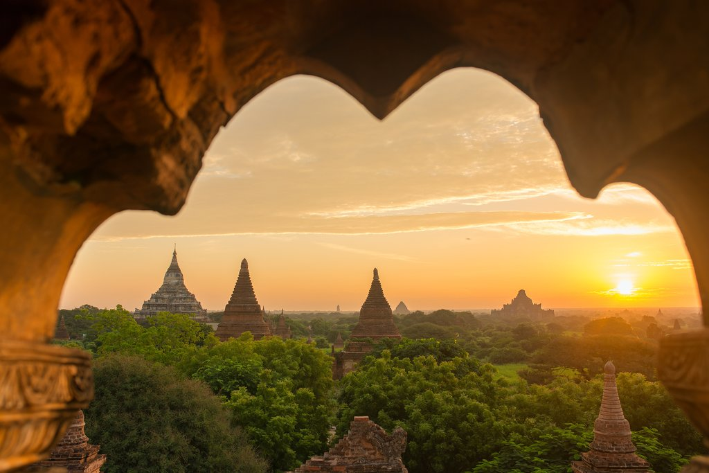 Sunset over ancient pagodas in Bagan