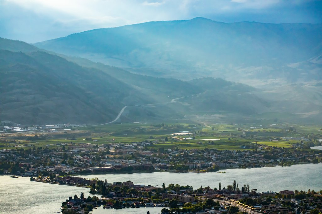 The lakes and mountains of the Okanagan Valley, British Columbia's wine region