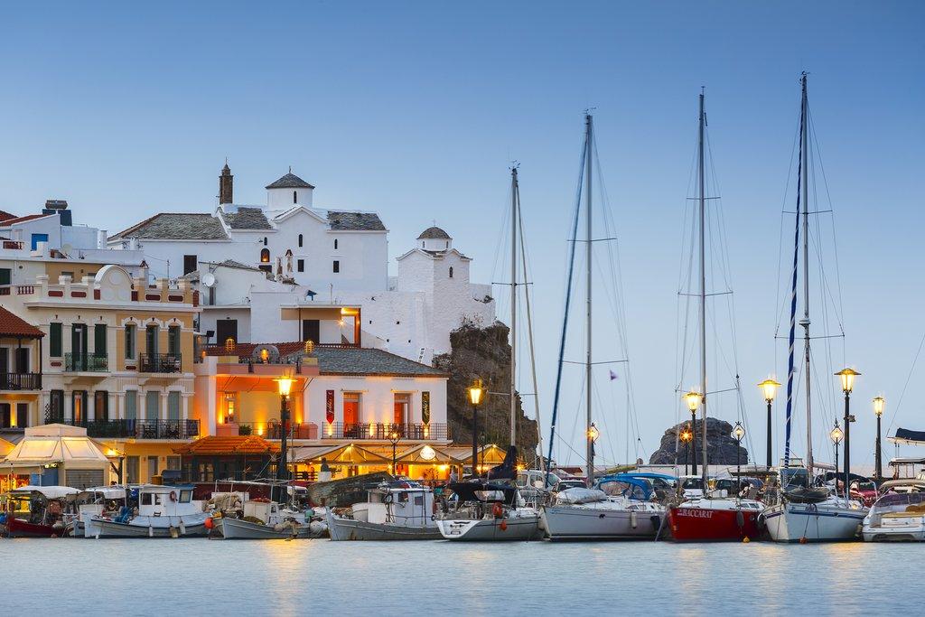 Skopelos town harbor