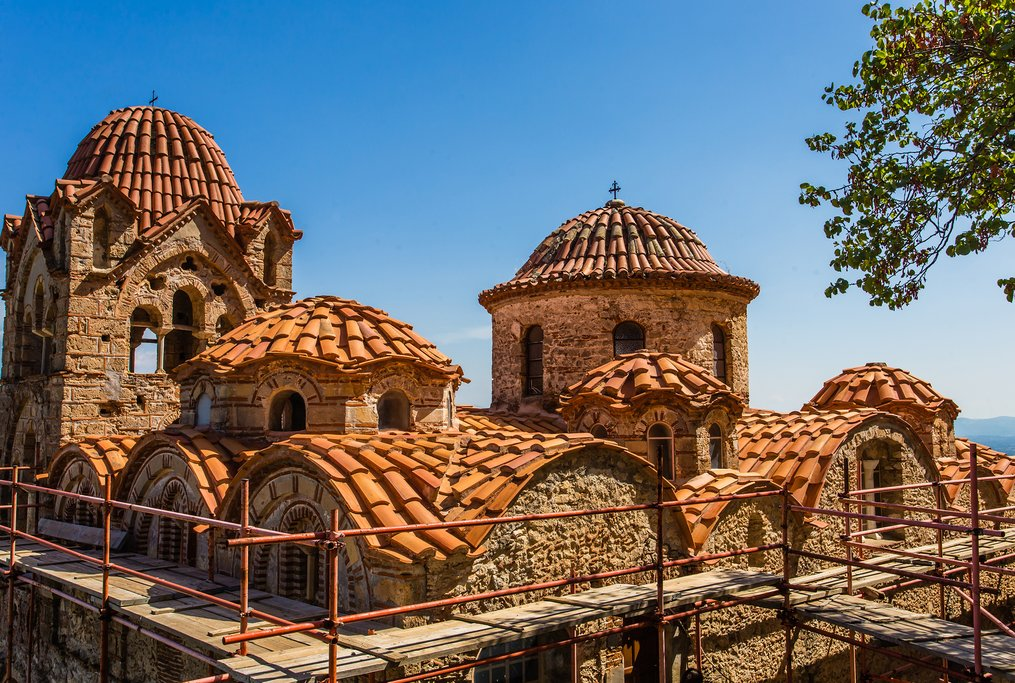 Byzantine church rooftop in Mystras
