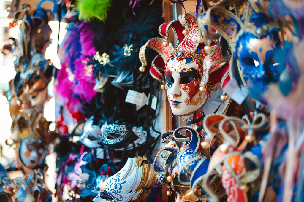 Colorful Carnival Masks in Venice