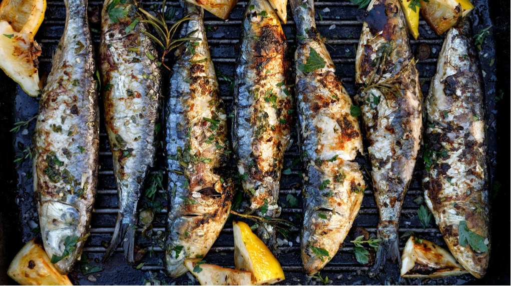 Freshly grilled Portuguese fish with lemon and herbs