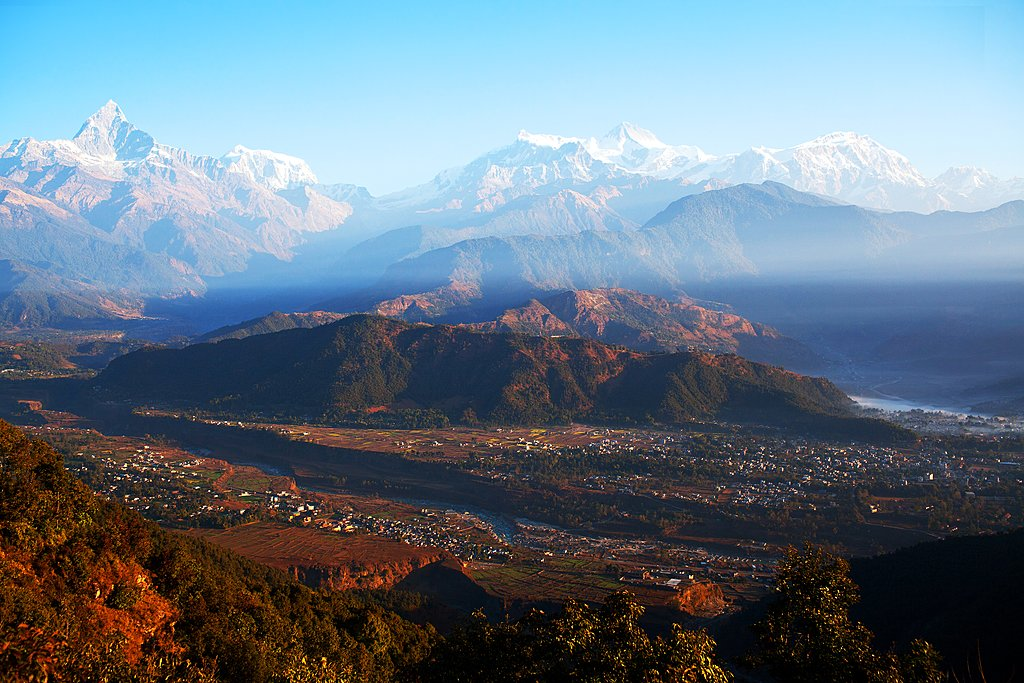 View from the World Peace Pagoda of Phewa lake, Pokhara, and the Annapurna Range