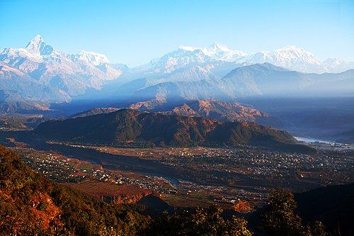 View from the World Peace Pagoda of Phewa lake, Pokhara, and the Annapurna Range