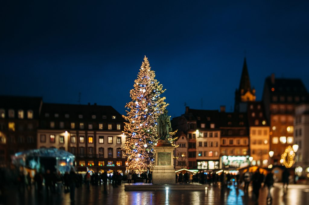 Central Christmas tree and surrounding market in Strasbourg