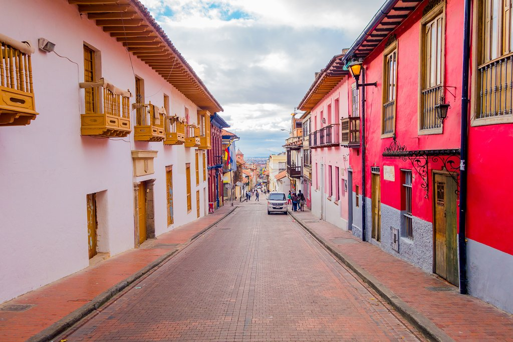 A street in Bogotá's historic center.