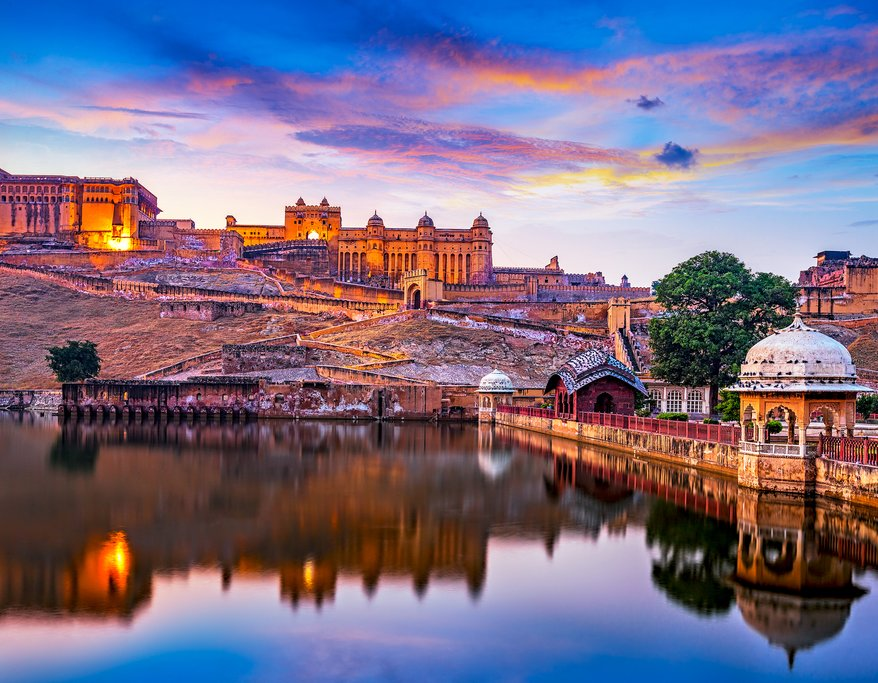Jaipur's Amer Fort reflects in nearby Maota Lake