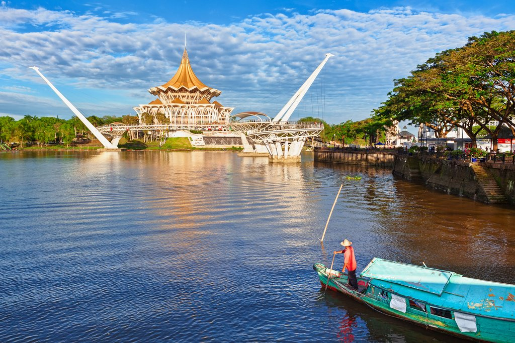 Traditional boat on Sarawak River