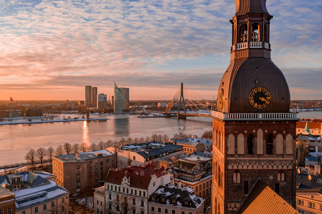 Sunset over Riga's Old Town