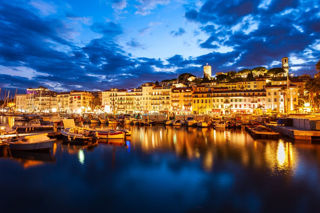 A view of Cannes at night
