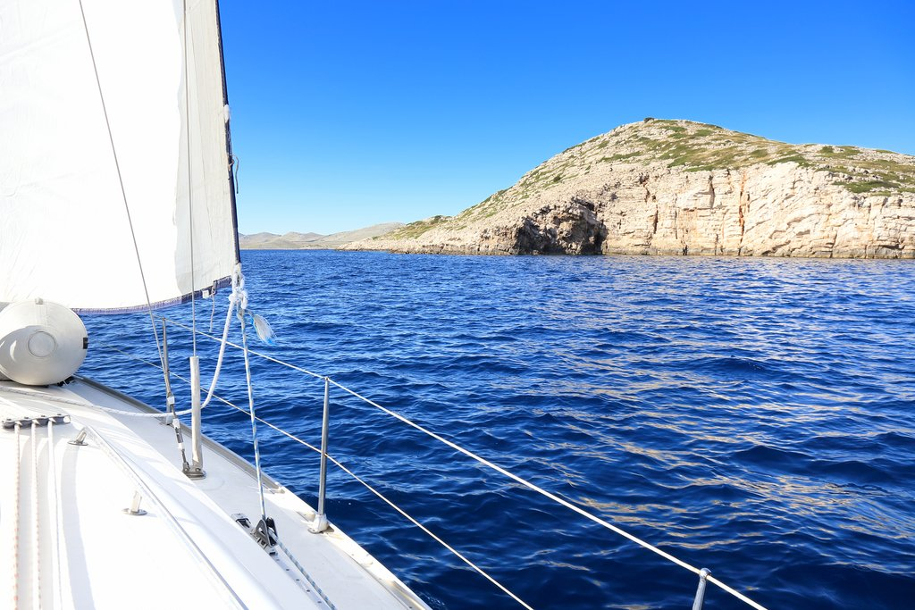 Sailing in the Adriatic Sea off the coast of Croatia