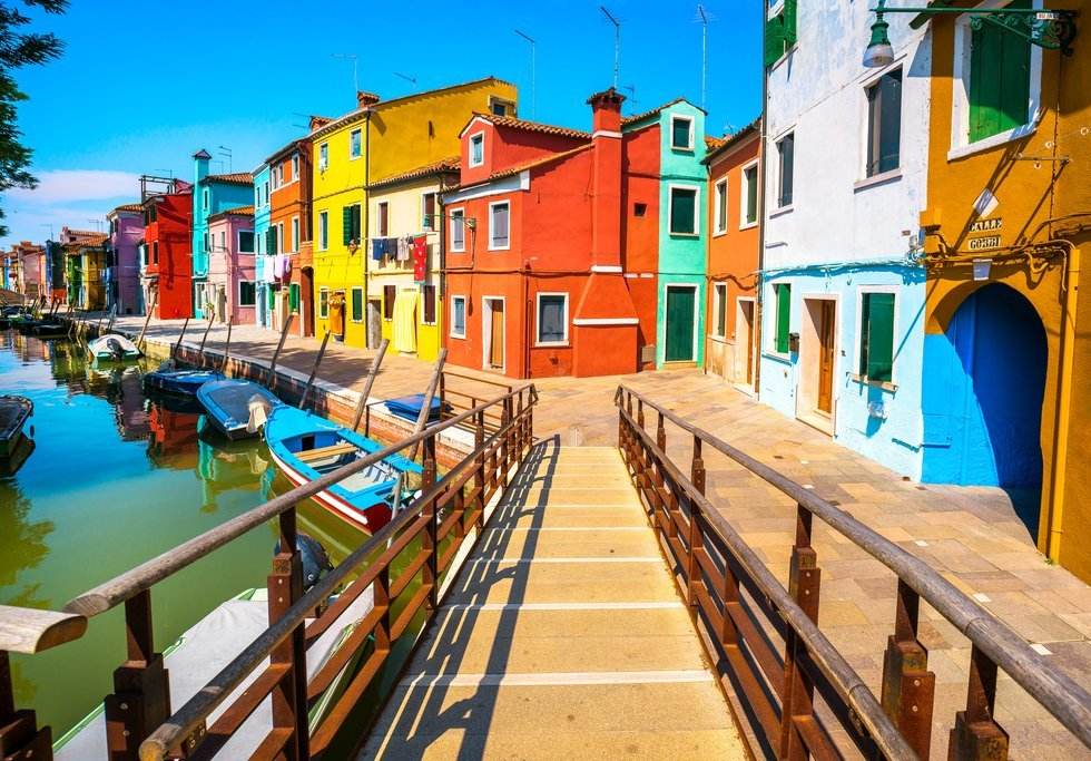 Houses of Burano in Venice