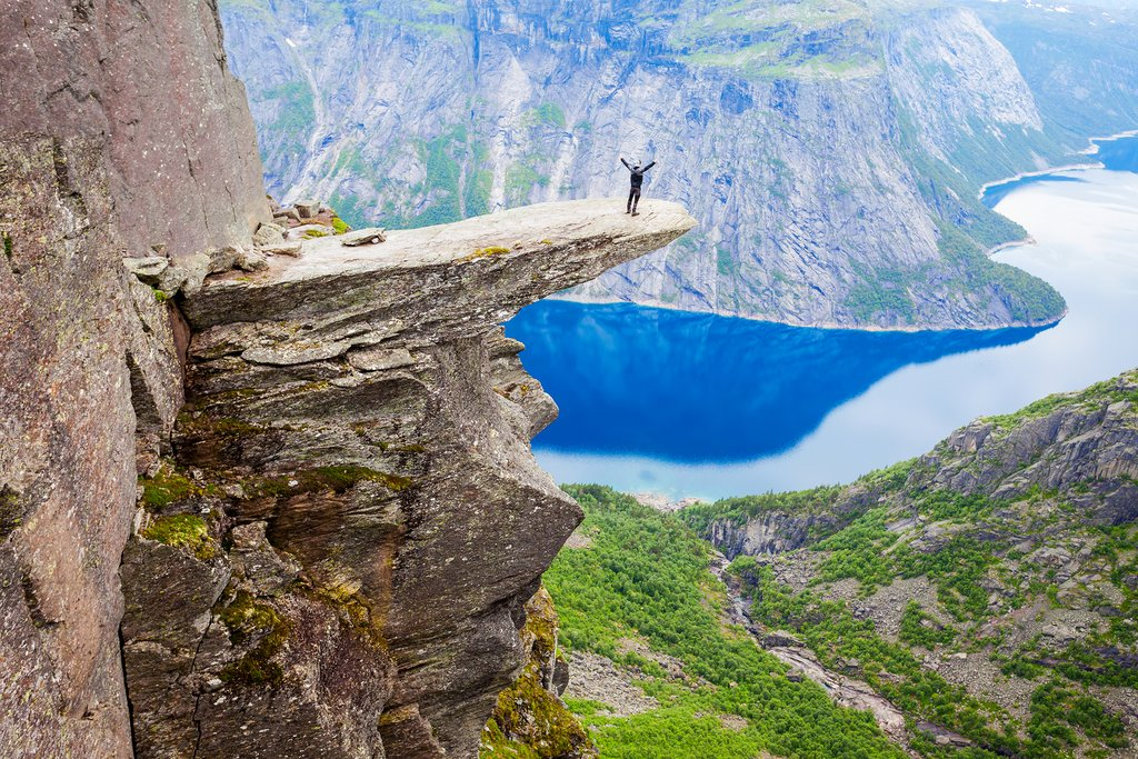 Take a hike to Troll's Tongue overlooking the Hardangerfjord