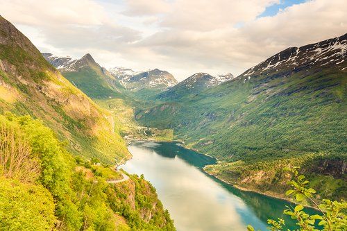 Beautiful view over magical Geirangerfjord