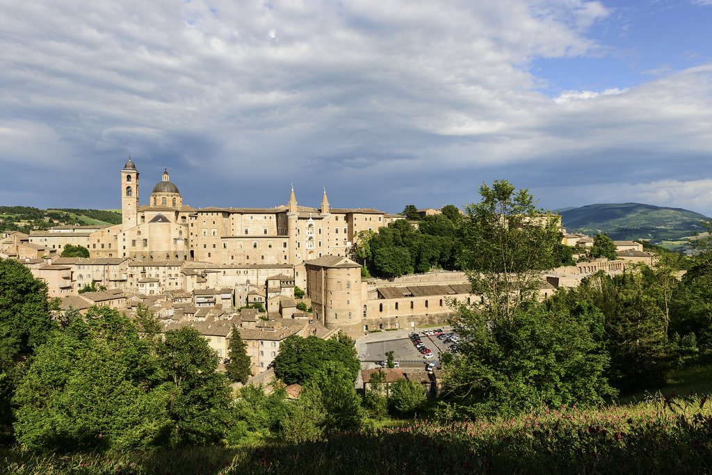 Views across the Marche countryside to the Renaissance hill town of Urbino.