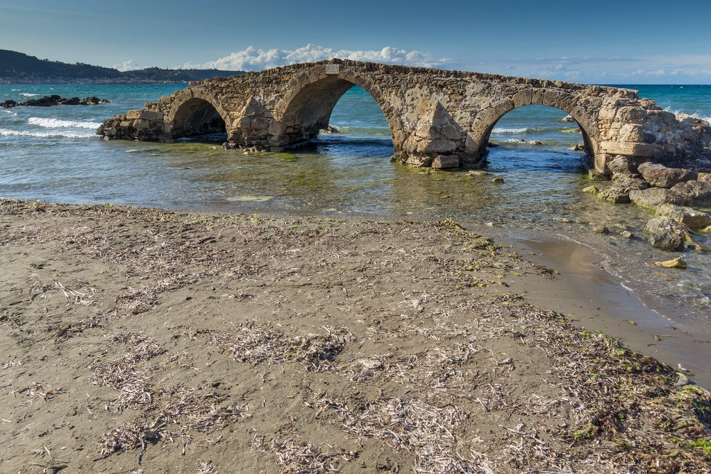 Old stone bridge at Argassi beach
