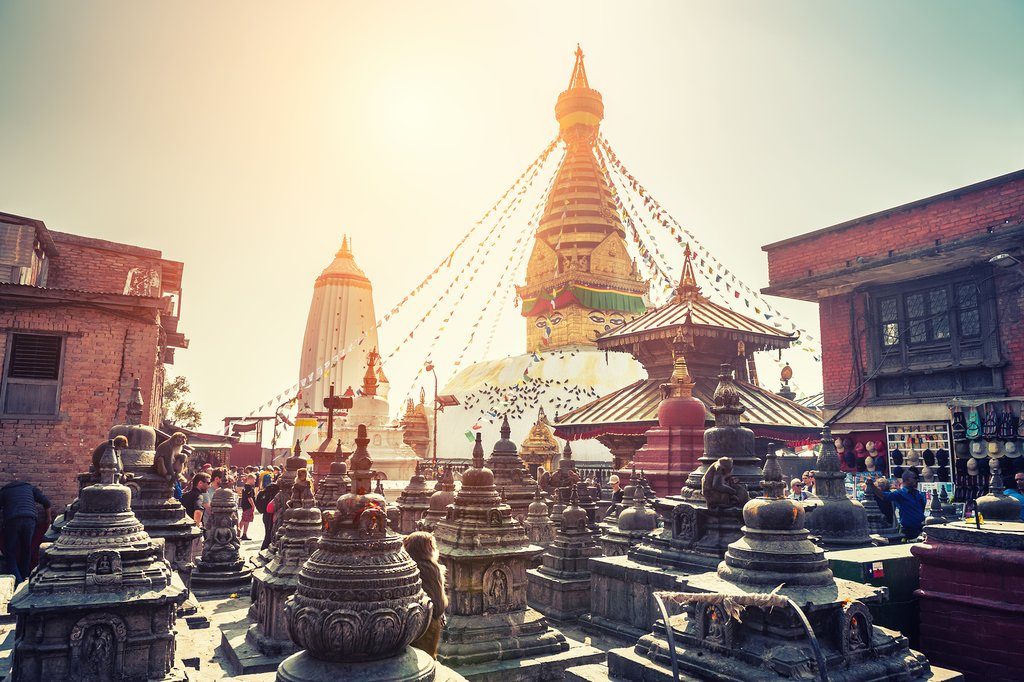 Morning sunshine at Swayambhunath Stupa