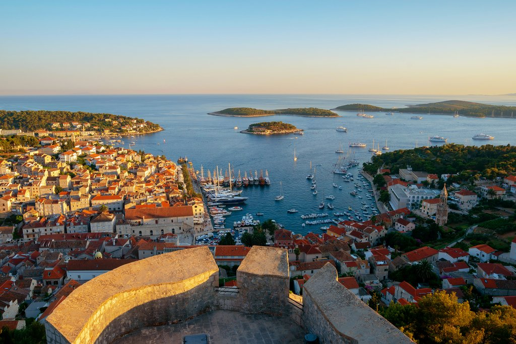 The beautiful island town of Hvar and Pakleni Islands in the distance