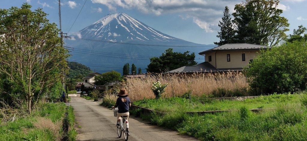 A biker enjoying mountain views