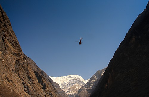 Helicopter flying through the Annapurna region
