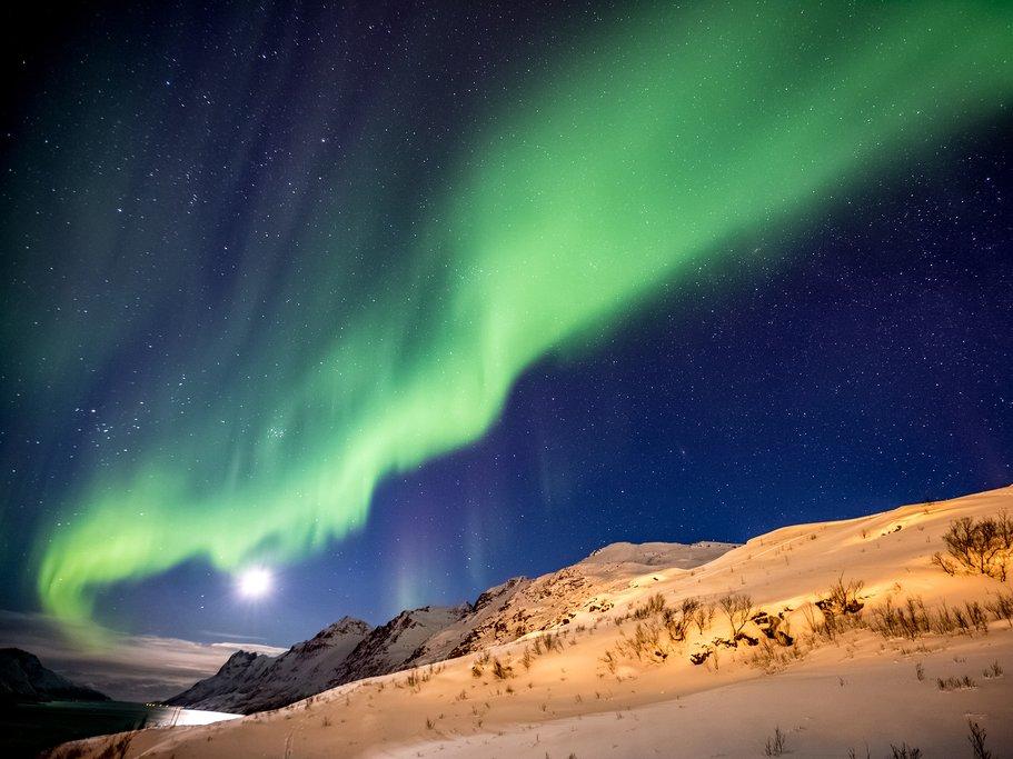 The elusive aurora borealis lights up the sky near Tromsø