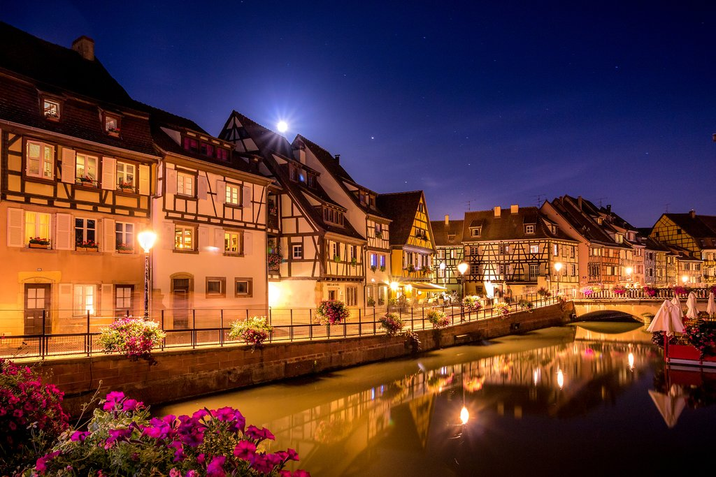 Street lights along the canals in Colmar