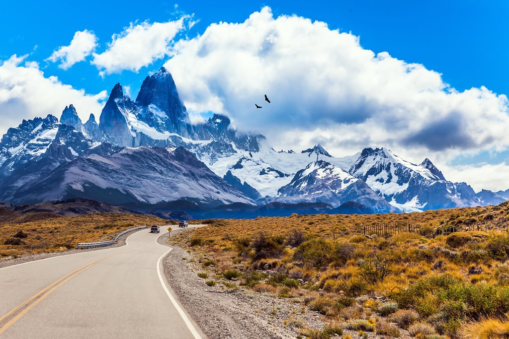 Blue skies above Argentina's Mount Fitz Roy.